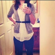 Striped Cardigan with belt outfit, comfy and casual!