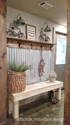 behind the front door Farmhouse Furniture, Diy Furniture, Farmhouse Decor, Concrete Basement Walls, Concrete Floors, Corrugated Metal Walls, Metal Fireplace, Tin Walls, Rustic Entryway