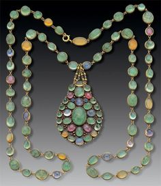 Necklace for Tiffany and Co., c.1900. Gold, emeralds, sapphires, and fire opals.