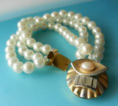 Gorgeous Art Deco high quality 3 strands pearls by RAKcreations