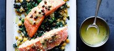 Slow-Cooked Salmon, Chickpeas, and Greens
