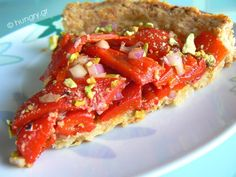 Kitchen Stori.es: Τάρτα Κόκκινης Πιπεριάς Red Peppers, Bruschetta, Vegetable Pizza, Tart, Stuffed Peppers, Vegetables, Ethnic Recipes, Food, Red Bell Peppers