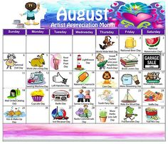 your free random holiday calendar for August! Unusual Holidays, Wacky Holidays, Weird Holidays, August Holidays, July Calendar, Calendar Journal, Holiday Calendar, Monthly Calender, Event Calendar