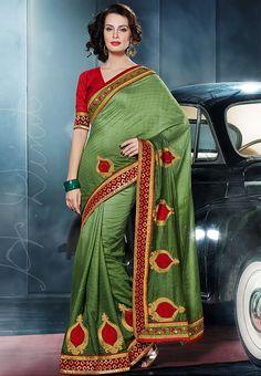 Viscose Green Embroidered Saree at $148.20 (24% OFF)