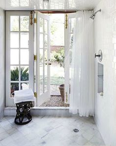Shower with doors to the outdoors? Yes, please. Brabourne Farm: Spring Fair