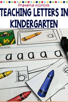 Literacy Centers for kindergarten or preschool are a fun way to manage your work stations. Use during reading groups with easy organization and rotation management. These are hands on for the beginning of the year when you are introducing the alphabet, writing, sight words or just with your struggling readers in first grade. Set up is easy and this back to school theme is perfect! Kindergarten Centers, Kindergarten Classroom, Literacy Centers, Alphabet Writing, Letter Identification, Teaching Letters, Struggling Readers, Work Stations, First Grade Classroom