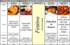 Menú de Alta Proteína del 5 al 9 de Agosto de 2013