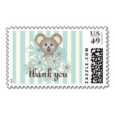 Cute Animal Custom Pastel Striped Postage Stamps - Pretty Baby Koala - Thank You