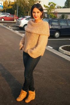 Cute Boat Neck Knitted Jumper