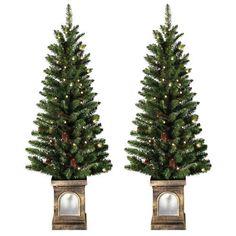 Christmas Porch Decor Set of 2 PiecePre-Lit Artificial Xmas 4Ft Trees Pinecones  #SmartDealsMarket