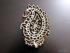 Indian Hand Carved Paisley Motif Textile Wood Stamp Block