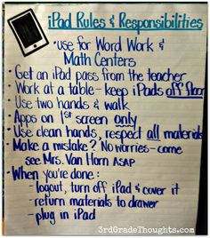 3rd Grade Thoughts: Setting Up iPads in Our Classroom   Rules and procedures for third graders