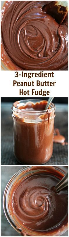 3-Ingredient Peanut Butter Hot Fudge Sauce Recipe on twopeasandtheirpod.com This easy hot fudge sauce is amazing! It is great on ice cream, cakes, brownies, strawberries, and more!