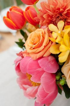 Orange, yellow, and pink flowers <3<3