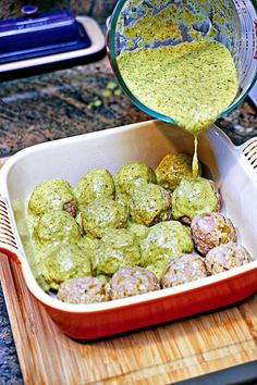 Stuffed Green Chili Meatballs in Tomatillo Sauce. Ok- didn't stuff them with cheese and they were still delicious. When making the tomatillo sauce- add one lime and some salt. I put them over some cilantro rice and they were amazing! Meatball Recipes, Beef Recipes, Cooking Recipes, Healthy Recipes, Cooking Chili, Sauce Recipes, Advocare Recipes, Cooking Steak, Healthy Meals