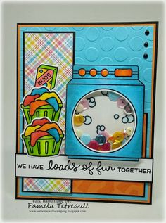 """airbornewife's stamping spot: VLVMAR2016 """"WE HAVE LOADS OF FUN TOGETHER"""" card using Lawn Fawn stamps & dies **W/MEASUREMENTS"""