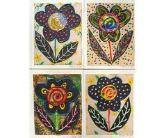 Black Flower Note Cards Original Greeting by AGirlAnOwlAndACat
