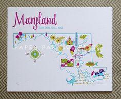 Maryland State Letterpress Print 8x10 by paperparasolpress on Etsy.  maryland <3