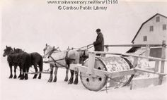 Snow roller, Caribou, ca. 1930. Purchase reproduction prints online at www.VintageMaineImages.com