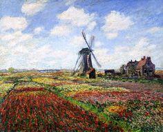 Claude Monet - Tulip Fields with the Rijnsburg Windmill, 1886 - jetzt bestellen auf kunst-fuer-alle.de