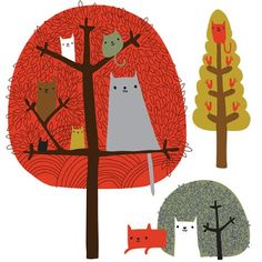 cats in trees, Melvyn Evans - print & pattern: ILLUSTRATION