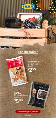 Create a fun holiday food gift basket for bakers, whether they're seasoned pros or beginners. From bread mix and gingerbread dough, to oils and cookie cutters, find the perfect ingredients in our Swedish Food market. #Christmas #giftideas #baking Holiday Fun, Holiday Gifts, Gingerbread Dough, Holiday Gift Baskets, Bread Mix, Swedish Recipes, Food Gifts, Bread Baking, Winter Holidays