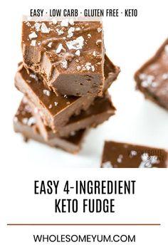 Easy Keto Fudge Recipe With Cocoa Powder - 4 Ingredients - This easy keto fudge recipe needs just 4 ingredients and 10 minutes prep! And, making keto fudge with cocoa powder and sea salt is super easy. Keto Desserts, Paleo Dessert, Dessert Bars, Dessert Mousse, Easy Desserts, Dessert Recipes, Keto Snacks, Fudge Recipe With Cocoa, Cocoa Powder Fudge Recipe