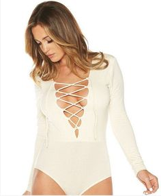 795faae7ba Deep V-neck Lace Up Long Sleeve Triangle Short Jumpsuit New Fashion
