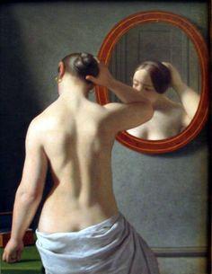 Page : Nude Before a Mirror / Artist : Christoffer Wilhelm Eckersberg / 이 작품은 전형적으로 여성의 아름다움을 표현하는 뒷모습을 그린 누드화이다. 앞에 거울을 배치하여 여성의 앞모습과 방문으로 보이는 배경이 살짝 보인다.    누드를 살짝 왼쪽에 치우쳐 그리고, 거울을 오른쪽 상부에 그려 안정적인 구도를 보인다. 뒷모습만 그렸으면 심심했을 그림에 거울을 배치해 시야가 트인 듯한 느낌이 든다.    이 작품에서 거울은 누드화를 아름답게 하기 위한 보조적 장치로 보인다.