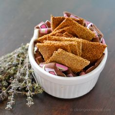 Easy Flax Crackers - ground flaxseed, water, salt, garlic powder, onion powder - Strict Candida Diet
