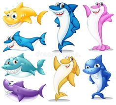 Cartoon Images, Cartoon Art, Girl Holding Balloons, Shark Coloring Pages, Free Illustrations, Clipart, Bunt, Cute Animals, Gone Fishing