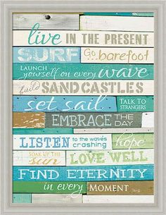 Amazon.com: Live in the Present by Marla Rae Turquoise Beach Sign Framed Art Print Picture Wall Décor: Posters & Prints