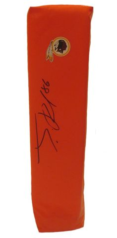 Jordan Reed signed Washington Redskins full size football touchdown end zone pylon w/ proof photo.  Proof photo of Jordan signing will be included with your purchase along with a COA issued from Southwestconnection-Memorabilia, guaranteeing the item to pass authentication services from PSA/DNA or JSA. Free USPS shipping. www.AutographedwithProof.com is your one stop for autographed collectibles from Washington DC sports teams. Check back with us often, as we are always obtaining new items.