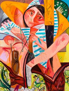A zinging chromatic and figurative universe is unleashed in this career-spanning exhibition by leading American painter Dana Schutz. Painting People, Figure Painting, Dana Schutz, Emmett Till, Berlin, Picasso Paintings, Art Paintings, Exhibition, Portrait Art