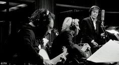 """Guitarist John Pizzarelli, Joe Walsh and Paul McCartney recording at Capitol Records in Hollywood, """"Sinatra's Room"""", Kisses On The Bottom"""