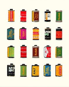 Vintage colorful 35mm film canisters art print. http://www.etsy.com/listing/119574957/vintage-film-canisters-35mm-film-kodak