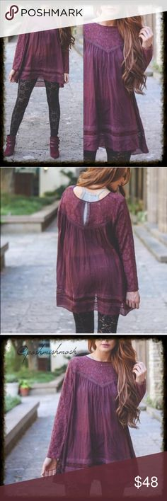 Wine Colored Boho Tunic Blouse Wine Colored Boho Tunic Blouse. Semi Sheer boho tunic is perfect for every season.  Features lace detailing at neckline, at hem line and at sleeves.  In a beautiful burgundy wine color. Keyhole button at back of neck. 100% cotton. * *15% off bundles *Free Jewelry item with every purchase  *No trades *Reasonable offers are always considered *Happy poshing  Tops Tunics