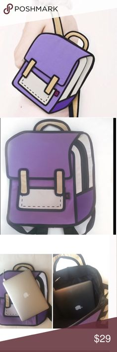 """Cute 2D backpack Great for back to school  Super cute great condition (no stains, rips, zippers work)  Holds a lot Comfy to carry on your shoulder Computer shown is a MacBook Pro 13""""  I NEVER TRADE  THIS IS MY LOWEST PRICE Boutique Bags Backpacks"""