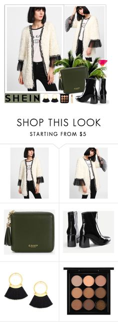 """SHEIN Contrast Mesh Cuff Faux Fur Coat"" by euafyl ❤ liked on Polyvore featuring Axiology"