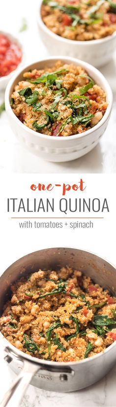 An easy & HEALTHY Italian Quinoa made in just ONE POT with tons of flavor and fresh ingredients! | Posted By: DebbieNet.com