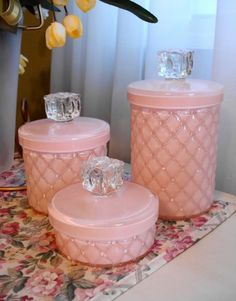 beautiful collection of pink glass ware. This would look so pretty on my vanity.