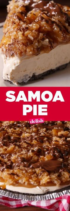Pie Samoa Pie is even better than the Girl Scout cookie.Samoa Pie is even better than the Girl Scout cookie. Easy Caramel Pie Recipe, Samoa Pie Recipe, Mini Desserts, Easy Desserts, Delicious Desserts, Yummy Food, Desserts Caramel, Plated Desserts, Healthy Food
