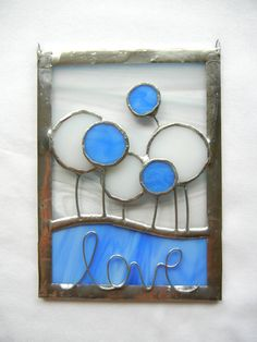 Stained Glass Suncatcher Card: Love Flower Circles - Blue and White. $25.00, via Etsy.