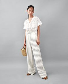 Image 1 of HIGH WAIST PALAZZO TROUSERS from Zara