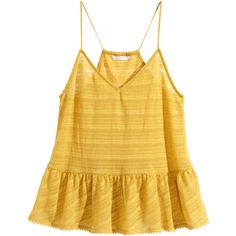 H&M Top with a flounce ($6.16) ❤ liked on Polyvore featuring tops, tank tops, yellow, v-neck tops, ruffle tank, ruffle tank top, racer back tank top and yellow tank top
