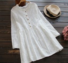 Floral 3D embroidery ruffled collar white cotton long sleeve short dress -in Dresses from Women's Clothing & Accessories on Aliexpress.com | Alibaba Group