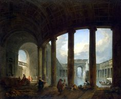 Hubert Robert (French, Paris 1733-1808), Swimming Pool, Surrounded by Colonnade, Hermitage Museum, St. Petersburg