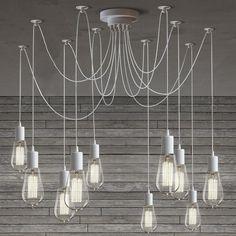 10 Light Cable Chandelier in white #40W #bulb-chandelier #ceiling-light