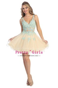 Special Occasion Dresses V Neck  Cap Sleeve Short/Mini Tulle Zipper Up Back With Beading/Sequins