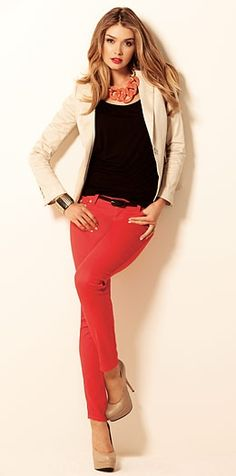 light blazer black top bright pants nude heels necklace to coordinate with pants